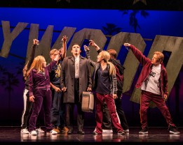 """L-R: Maria-Christina Oliveras (obscured), Geena Quintos, Billy Bustamante, Conrad Ricamora, Jaygee Macapugay, Jon Hoche and Daniel May in the world premiere of David Henry Hwang and Jeanine Tesori's """"Soft Power"""" at Center Theatre Group/Ahmanson Theatre. Directed by Leigh Silverman and choreographed by Sam Pinkleton, """"Soft Power"""" runs through June 10, 2018. For tickets and information, please visit CenterTheatreGroup.org or call (213) 972-4400. Media Contact: CTGMedia@CTGLA.org / (213) 972-7376. Photo by Craig Schwartz."""