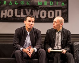 """L-R: Conrad Ricamora and Francis Jue in the world premiere of David Henry Hwang and Jeanine Tesori's """"Soft Power"""" at Center Theatre Group/Ahmanson Theatre. Directed by Leigh Silverman and choreographed by Sam Pinkleton; Soft Power; runs through June 10; 2018. For tickets and information; please visit CenterTheatreGroup.org or call (213) 972-4400. Media Contact: CTGMedia@CTGLA.org / (213) 972-7376. Photo by Craig Schwartz."""