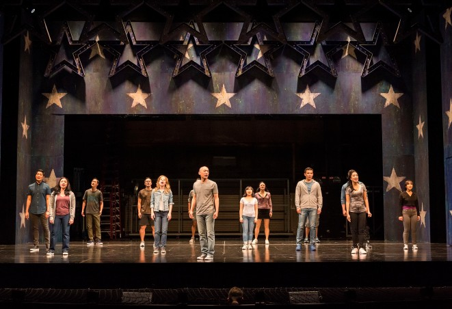 """The cast of the world premiere of David Henry Hwang and Jeanine Tesori's """"Soft Power"""" at Center Theatre Group/Ahmanson Theatre. Directed by Leigh Silverman and choreographed by Sam Pinkleton, """"Soft Power"""" runs through June 10, 2018. For tickets and information, please visit CenterTheatreGroup.org or call (213) 972-4400. Media Contact: CTGMedia@CTGLA.org / (213) 972-7376. Photo by Craig Schwartz."""